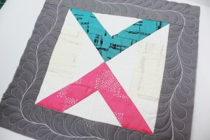 A series on custom quilting blocks using domestic machine quilting as you go