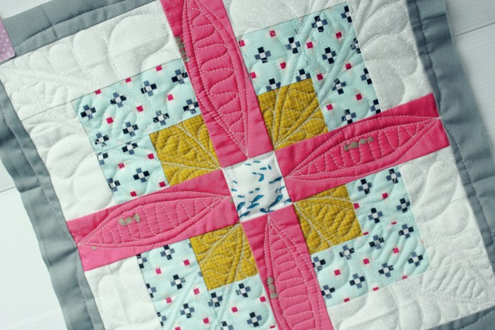 custom quilting on domestic machine using quilt as you go technique