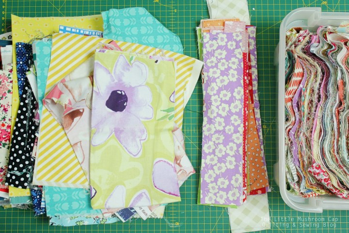 cutting scraps into strips of fabric