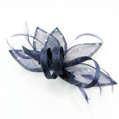 Seville Sinamay And Feather Comb Fascinator With Diamante