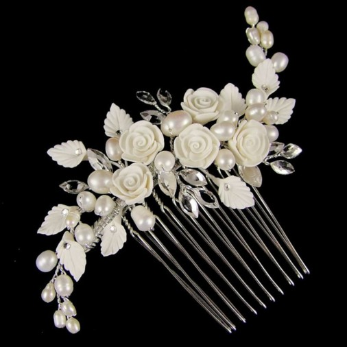 Lucia Flower Amp Pearl Wedding Hair Comb
