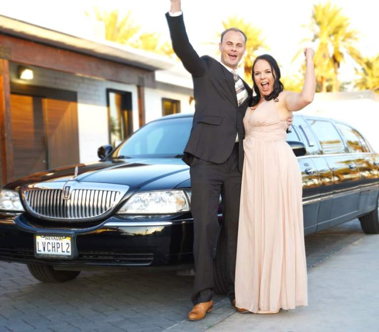 Couple with Limo at Las Vegas Wedding Chapel