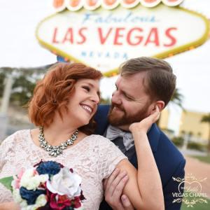 Wedding Photos in Front of Las Vegas Sign