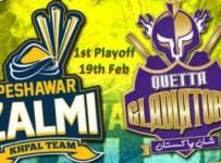 Peshawar Zalmi Vs Quetta Gladiators Live 1st Playoff 19th Feb 2016