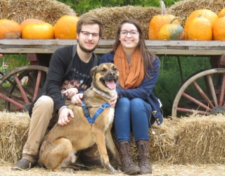 Family picture at pumpkin farm