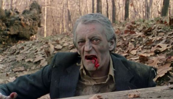 Bill Hinzman reprises his zombie role in the movie Flesh Eater