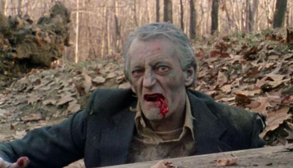 Bill Hinzman reprises his zombie role in the movie Flesh Eater
