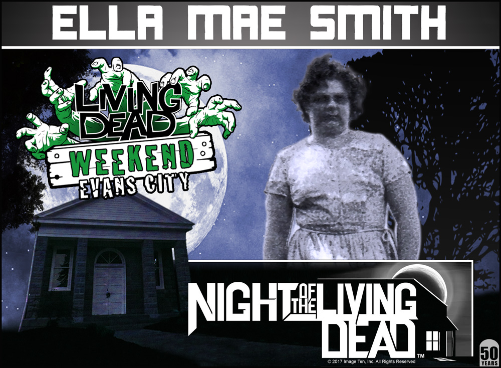 Please welcome our next guest Ella Mae Smith. Ella Mae maintains a constant presence around town and still lives local to Evans City. Ella Mae portrays one of the ghouls in the famous farmhouse approach scene of NIGHT OF THE LIVING DEAD. Always a fan favourite, Ella Mae will be with us all three days at Living Dead Weekend to celebrate the 50th Anniversary of Night of the Living Dead!