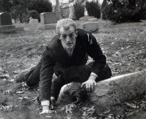 Bill Hinzman as the first Zombie in George Romero's Night of the Living Dead filmed in Evans City Cemetery