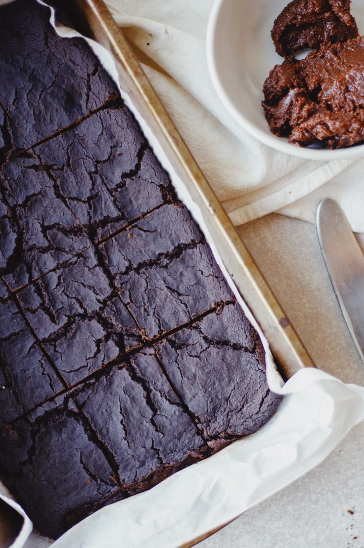 Healthy Vegan and Gluten Free Black Bean Brownies with Cashew Butter Frosting