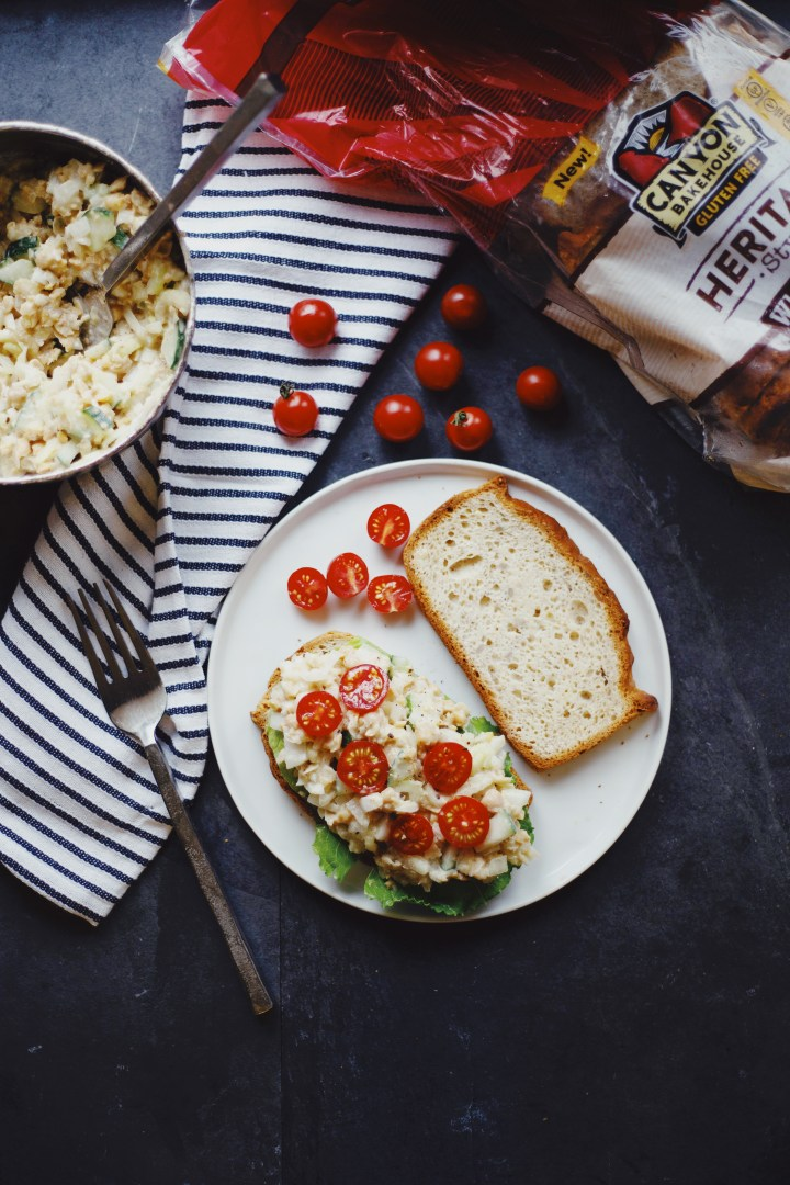 Vegan Chickpea salad sandwich on gf Canyon Bakehouse bread