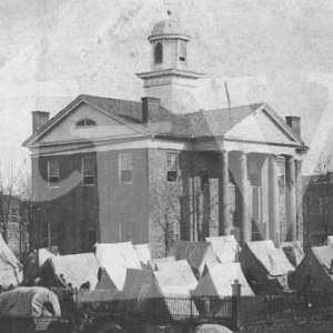 The men of an Illinois regiment of the Union army camped around the Oxford, Mississippi courthouse in December 1862. This is the only known photograph of Oxford's original courthouse and is authenticated for The Local Voice by President Grant's Library.