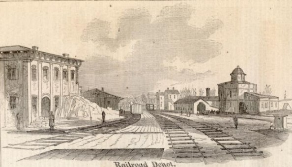 The Holly Springs, Mississippi Train Depot in 1862. This sketch was made by A. Simplot of Harper's Weekly shortly before Van Dorn's raid.