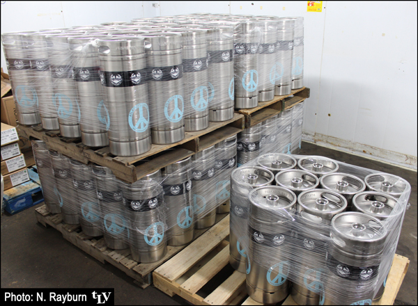 Kegs of IPA in the walk-in cooler: ready for shipping!