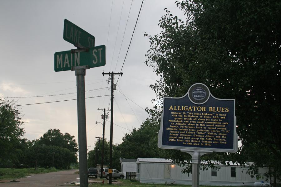 """""""Alligator Blues"""" trail marker in Alligator, Mississippi"""