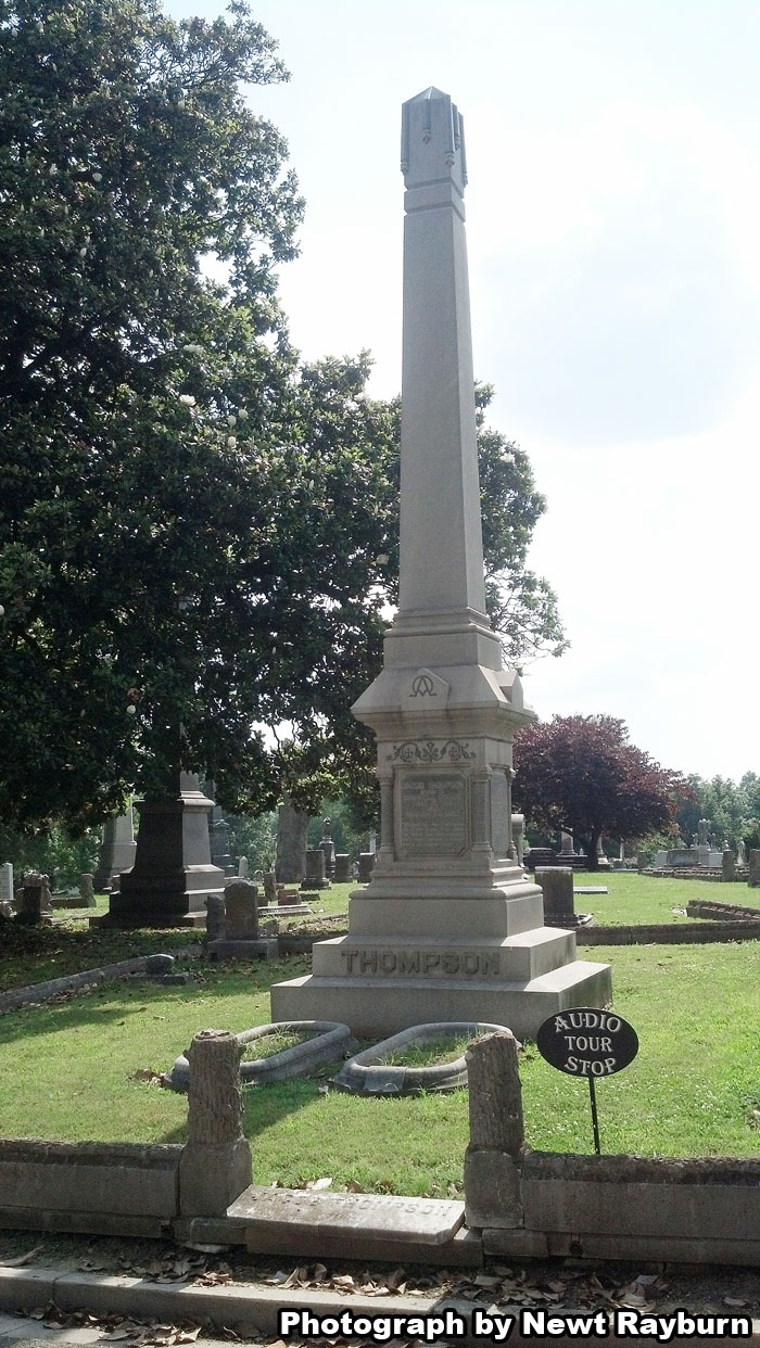 Jacob Thompson's grave in Elmwood Cemetery in Memphis, Tennessee. Photograph by Newt Rayburn