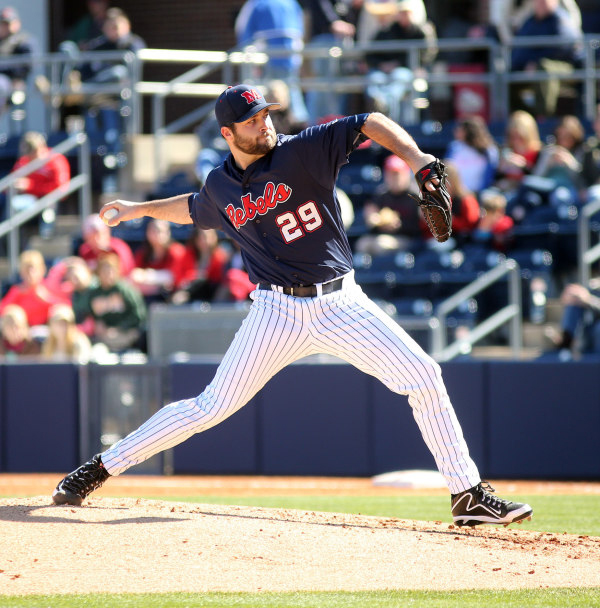 Right Handed Pitcher Sam Smith suffered the first lost of the season as Ole Miss Baseball took on William & Mary at Swayze Field on February 14th, 2015. Photograph by Joshua McCoy/Ole Miss Athletics.