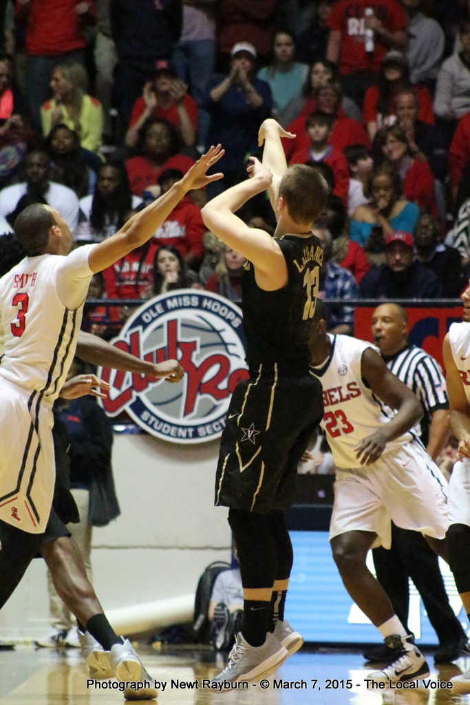 Vanderbilt Guard Riley LaChance was six of thirteen from field goal range, and five of nine from three point range. He finished the night with 19 points. Photograph by Newt Rayburn - © March 7, 2015 The Local Voice.