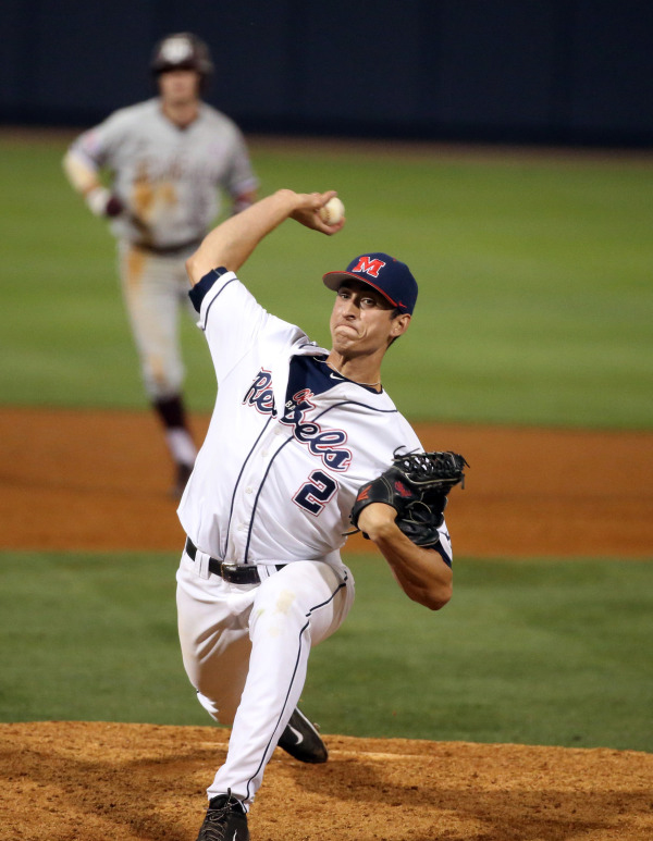 Jacob Waguespack pitching versus Texas A&M. Photo courtesy of Ole Miss Media Relations.