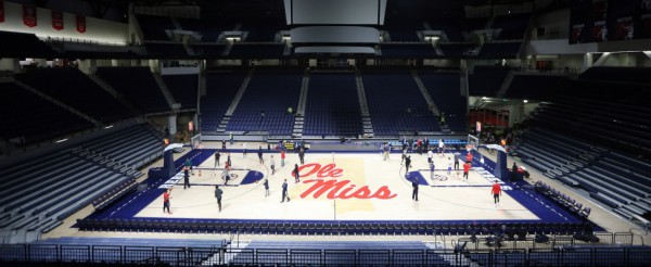 The first practices in The Pavilion at Ole Miss for the men's and women's basketball teams. Photo by Joshua McCoy/Ole Miss Athletics