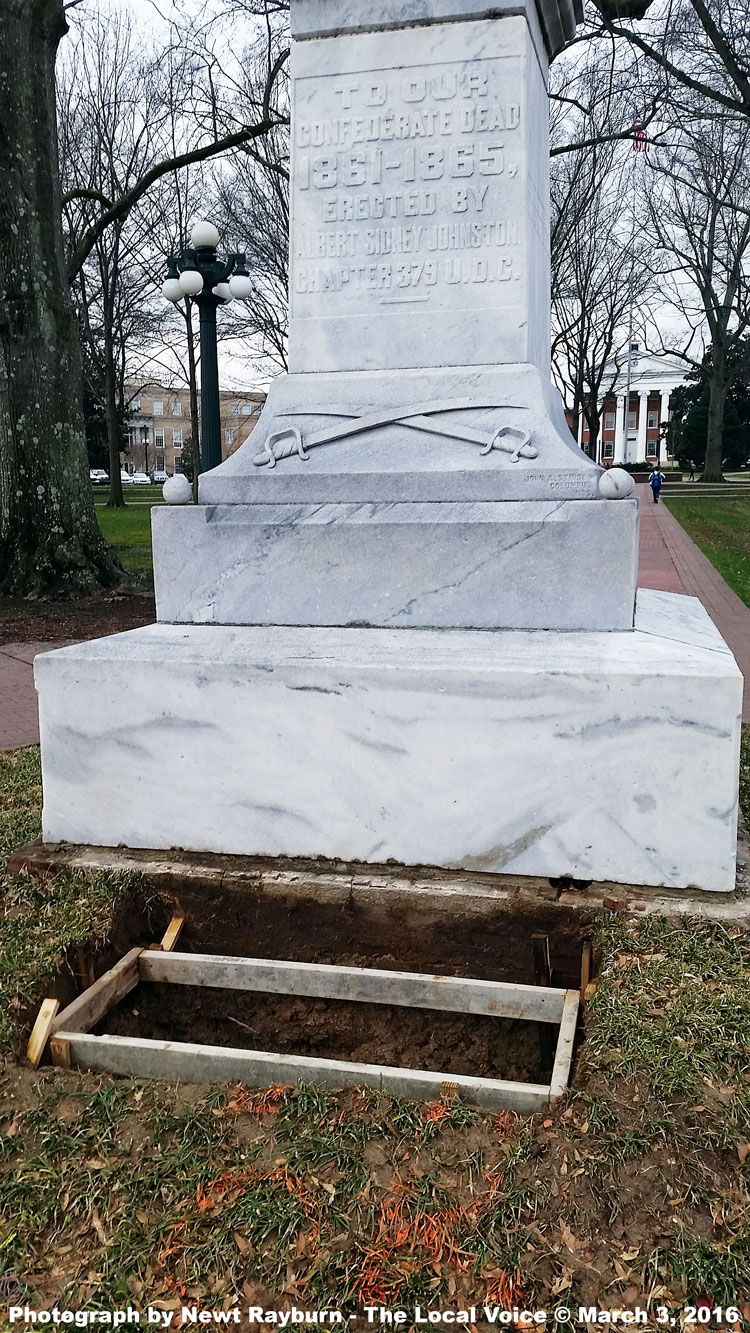 """The University of Mississippi is installing a """"context plaque"""" at the base of Ole Miss' Confederate Memorial Statue on The Circle. Photograph by Newt Rayburn - The Local Voice © March 3, 2016."""
