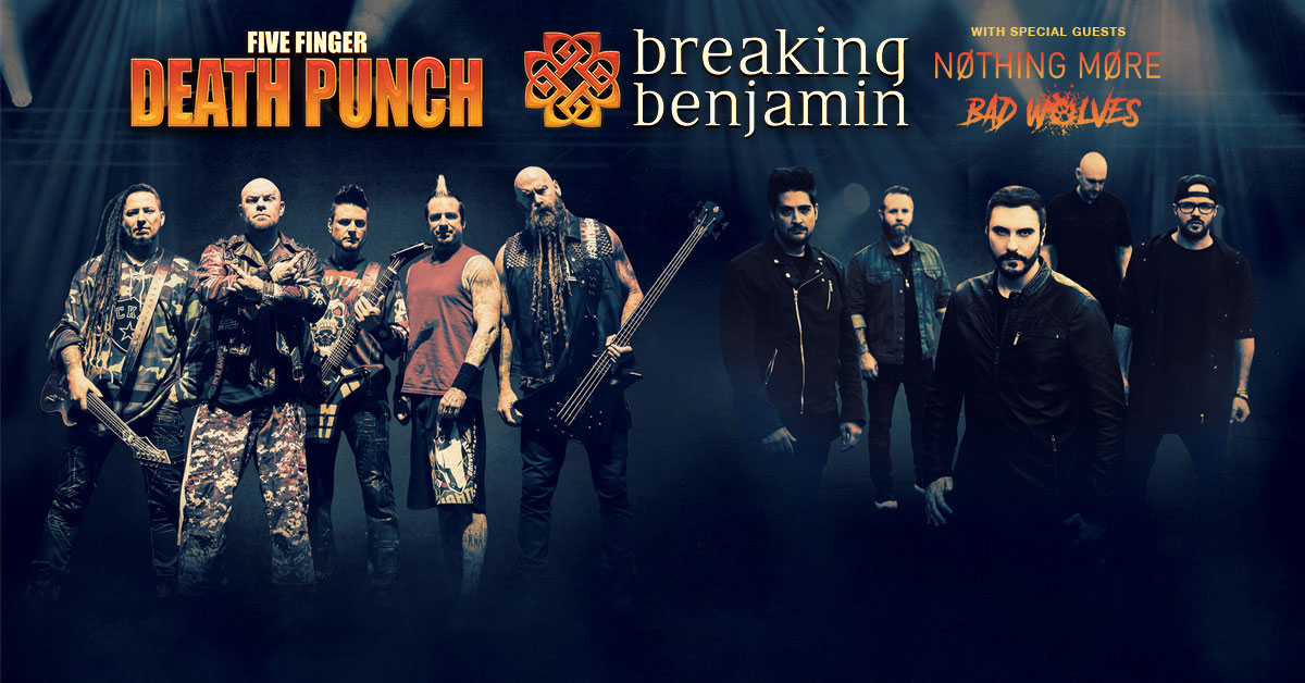 BankPlus Amphitheater in Southaven Announces Five Finger Death Punch and Breaking Benjamin Double Bill Show August 6 with Special Guests Nothing More and Bad Wolves