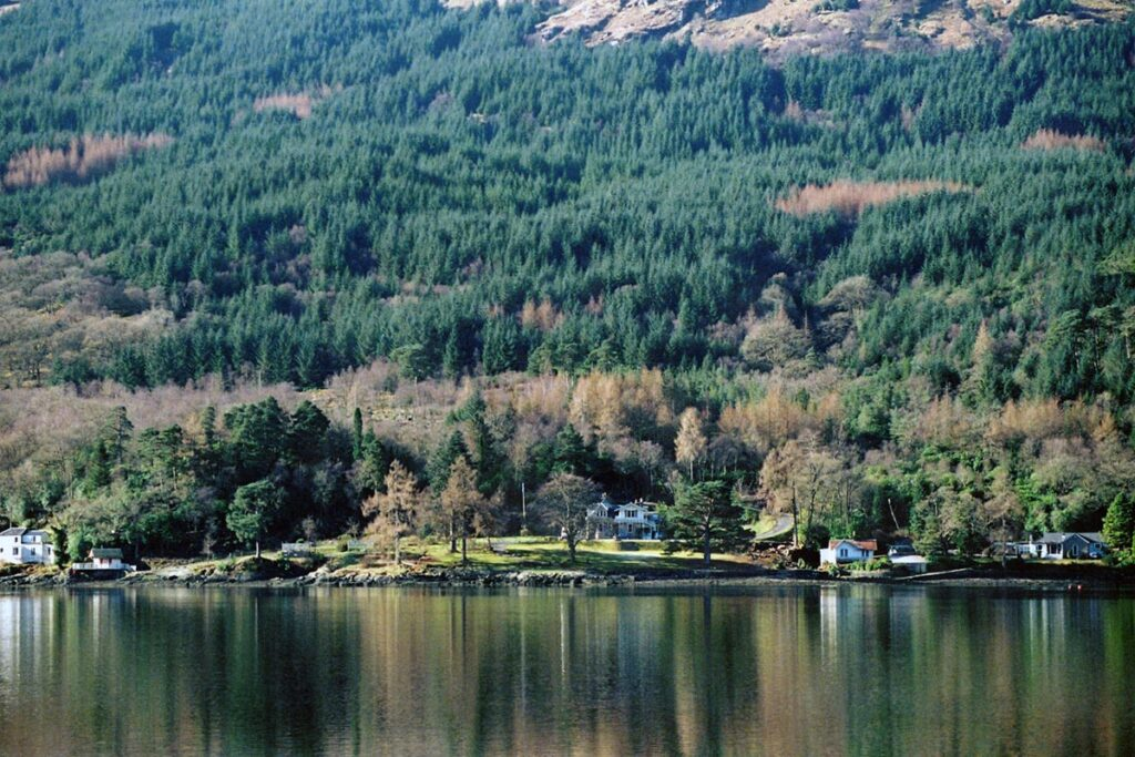The Lodge on Loch Goil from the water