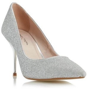 Roland Cartier Ladies BARONESS - SILVER Glitter Pointed Toe Court Shoe