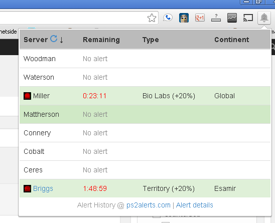 The extension shows all of the servers by default but can be configured to show only those the user is interested in.