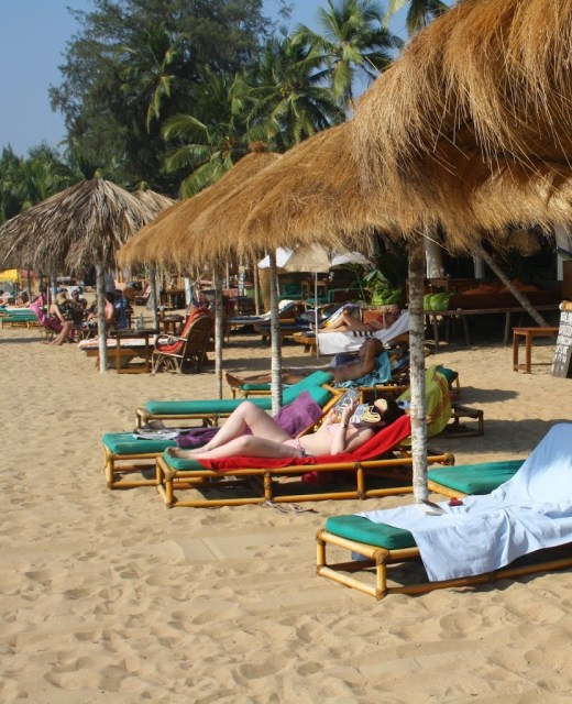 Sun basking at South goa beach during Holiday trip