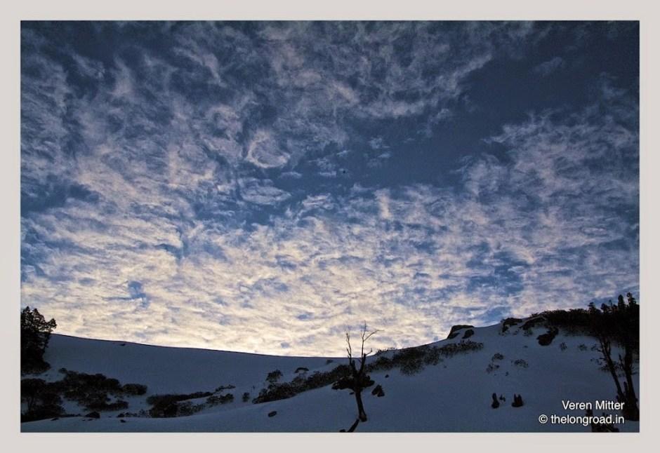 A view of Twilight on the ridge of snow peak himalayas. Kedarkantha trek