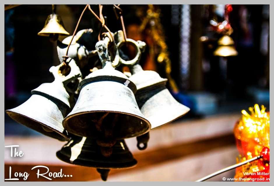 Diversity of Bells standing at temple in Himalaya Kumaon Uttarakhand India