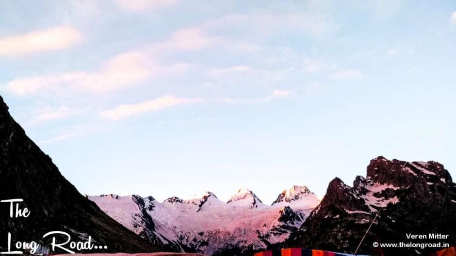 The tri mountain peaks at Sheshnag, Amarnath. Brahma, Vishnu and Mahesh.