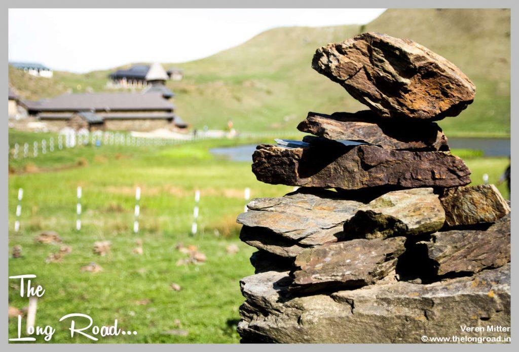 Stone pebbles around Prashar lake