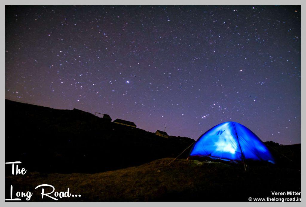Campite at Prashar Lake during night