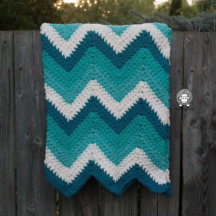 Timeless Teal Chevron Blanket Crochet Pattern