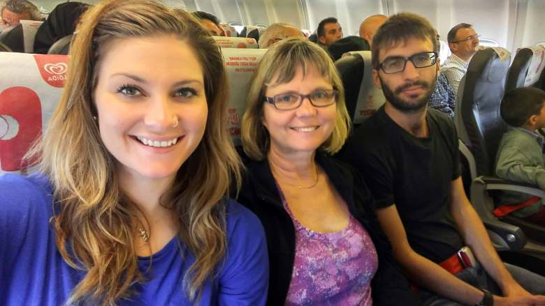 Photo on airplane of Ashlyn's family.