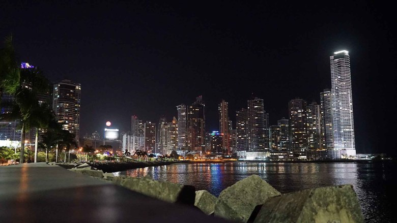 Night cityscape of Panama City.