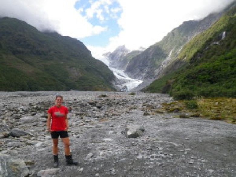 A quick photo in front of the Franz Josef glacier on the South Island. The glacier just happens to be in a temperate rainforest.