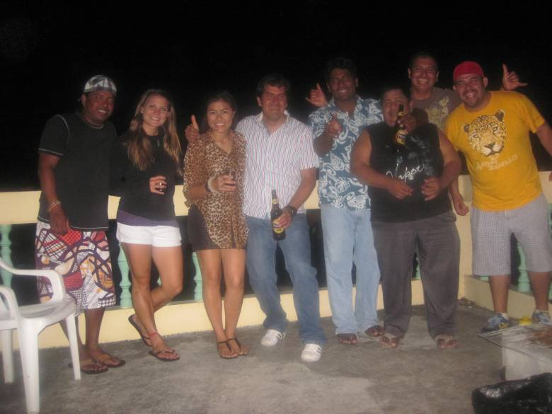 A photo of the dive crew as well as the owner of the hotel where I' staying. We had a big BBQ on the terraza of the hotel for Alvaro's birthday.