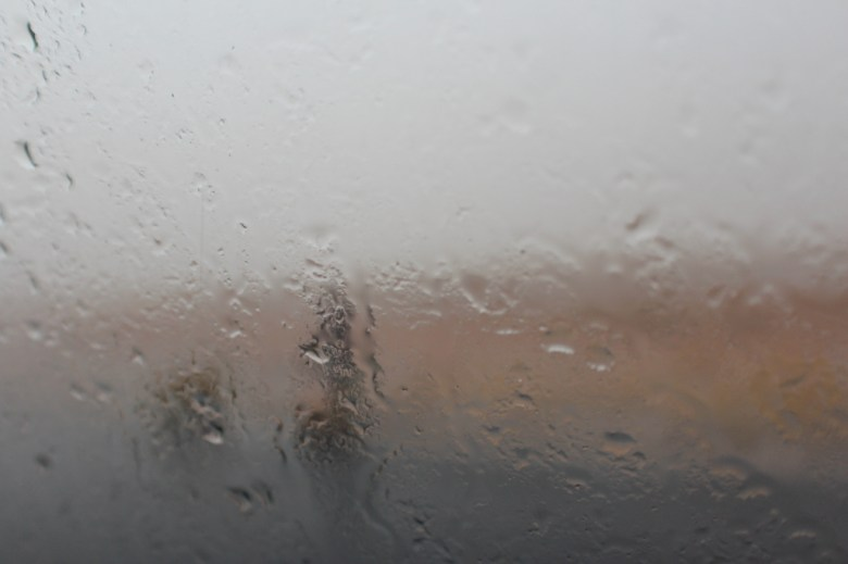 We stopped in what seemed to be the middle of nowhere to let off a passenger and her young son. It was raining so hard, this is the view I had of them through the taxi-brousse window.