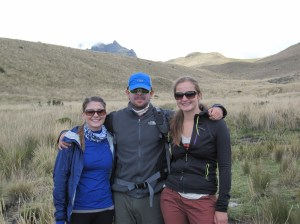 Myself with Cat and Diego, an Ecuadorian we met while hiking.
