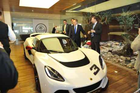 Lotus Exige S in showroom with George Zard Executive Board member Lotus cars Lebanon