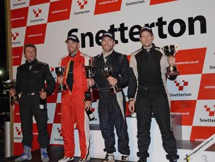 The Lotus Cup Class Champions L-R: Adrian Hall (Open), Marcus Jewell (2-Eleven), Adam Knight (Exige and SuperSport), Adam Gore (Production)
