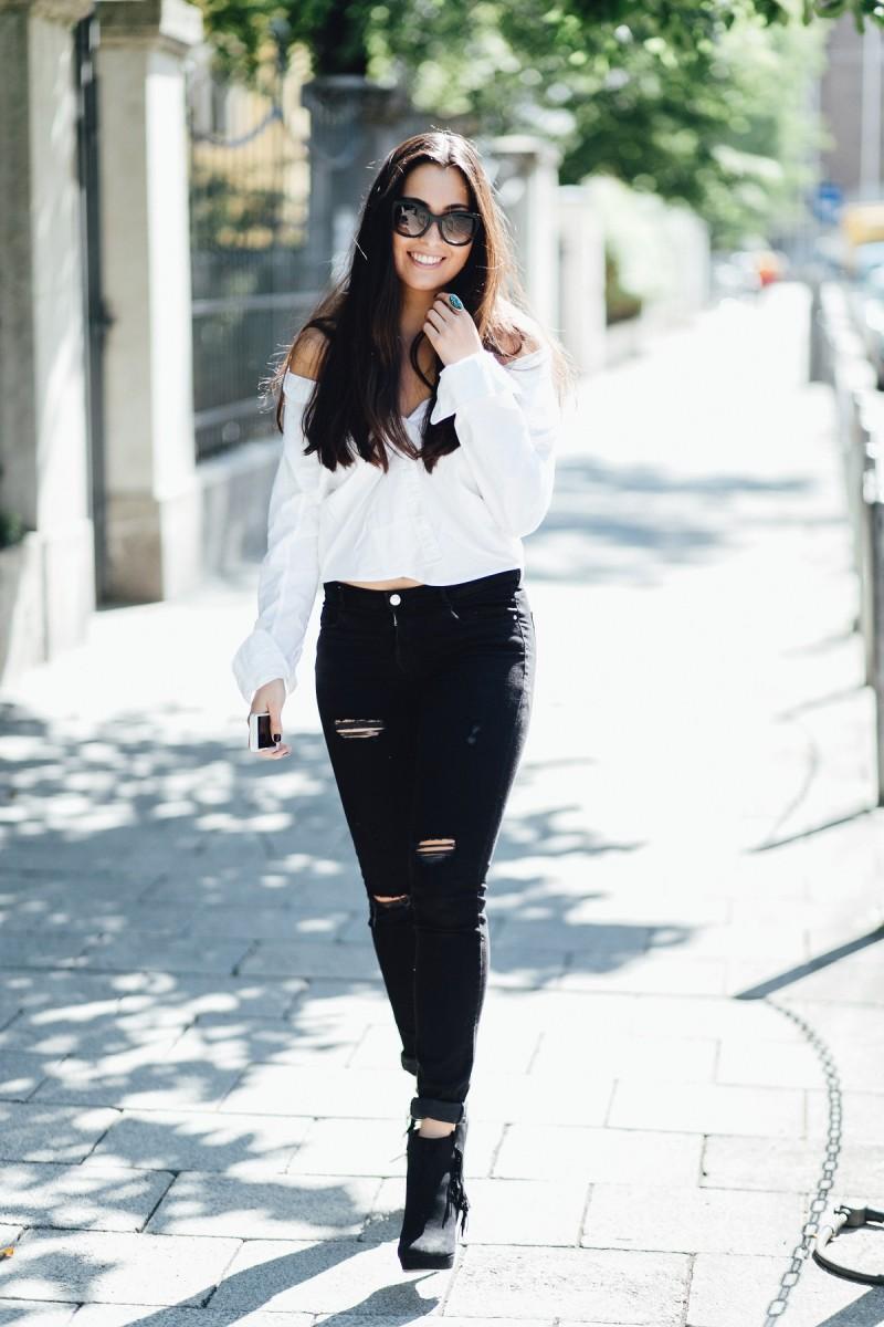 The Classic Button Down Shirt_GANT-Diamond G Shirt-Classy-White Blouse-Ripped Jeans-Black-Zara-Fringe Booties-Kennel Und Schmenger-Luxury-Off Shoulder-Must Have-Trend 2015-Fall-Autumn-Outfit-Look-Ootd-Streetstyle Munich-München-Fashionblog-Sunnies-Prada-Jewellry-Schmuckrausch-Marina Scholze-Photography