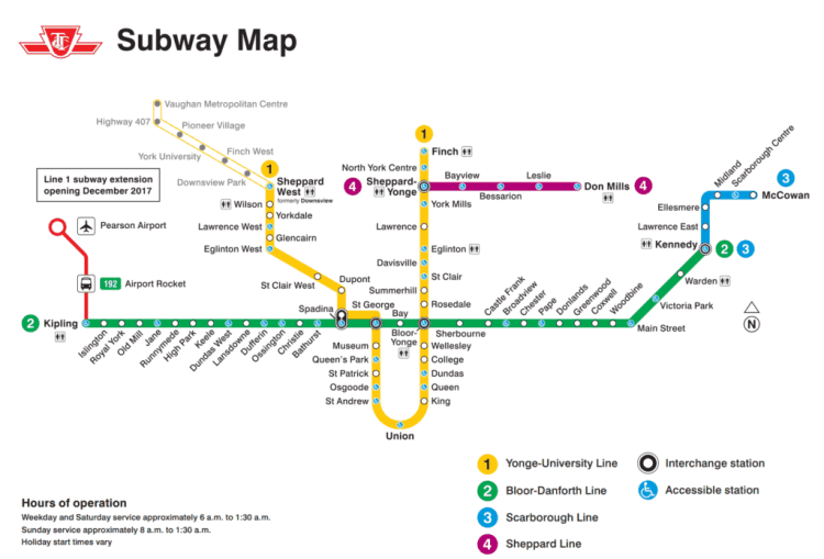 TTC subway route
