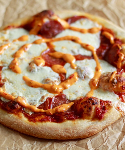 Soppressata Pizza with Chili Honey Aioli - The Lovely Lou Lous-3