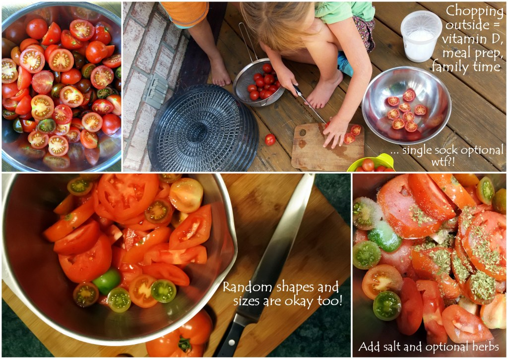 kids in the kitchen helpers healthy eating snacks knife skills outdoors tomatoes sundried dehydrator