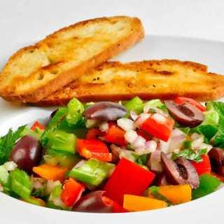 Red & Orange Bell Pepper Salad with Mint, Parsley & Lemon-Garlic Vinaigrette with Seeded Bread Crisps   LunaCafe