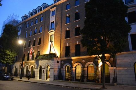 The Halkin facade by night